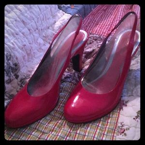 Pretty Red Patent Leather Slingback Pumps